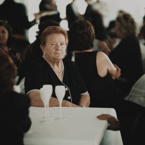 Old lady at funeral